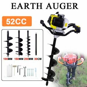 52cc Gas Power Earth Auger Engine Post Hole Digger 4 5 6 8 10 12 Drill Ms
