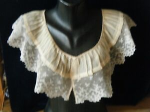 Antique19c Bertha Shoulders Collar Combo Hm Design Valenciennes Lace