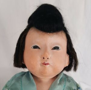 Antique Late19th C Japanese Ichimatsu Papier Mache Doll Gofun Glass Eyes