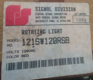 Federal Signal 121s 120rsb Rotating Red Beacon Light 120vac Nos Mib Never Opened