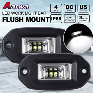 2x 4inch 40w Flush Mount 2led Work Light Bar Pods Flood Off road For Jeep Bumper