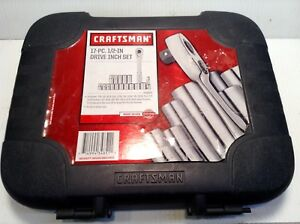 Craftsman Usa 34851 Thin Profile Ratchet Socket Set 17 Pc 1 2 Drive Sae Usa
