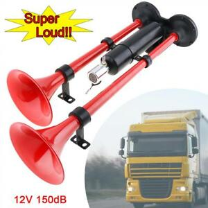 150db Super Loud Dual Trumpet Electrically Controlled Air Horn With Gas Tank