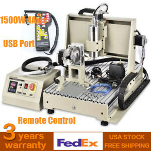1 5kw Vfd 4axis Cnc Router Frame 6040t Engraver Usb Port W Remote Controller