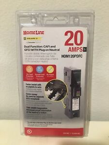 Square D Homeline Hom120pdfc 20a Dual Function Plug In Breaker Brand New