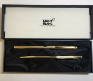 Montblanc Noblesse Slim Line Gold Plated Ball Point Pen Mechanical Pencil Case