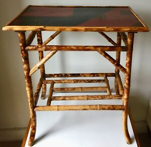 Bamboo Chinoiserie Side Table Painted Top