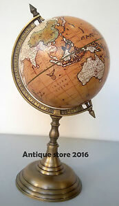 Desk Top World Globe On A Antique Stand Shows Nautical Lane Christmas Gift