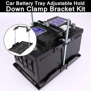 Adjustable Car Storage Battery Holder Stabilizer Metal Tray Hold Down Clamp