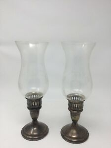 Reed Barton Sterling Silver Vintage Pair Of Candle Holders Etched Glass