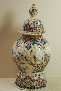 Early 18 C Dutch Delft Octagonal Section Baluster Vase Iron Red Mark With Top