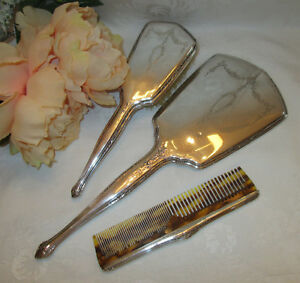 Antique R Wallace Sterling Silver Beveled Mirror Brush Comb 3 Pc Vanity Set