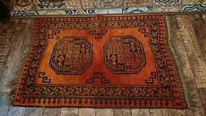 Antique Original Old Fire Side Rug Carpet Orange Black Patterned Kilim Bedside