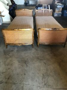 Antique 2 Twin Beds Rattan Wicker Matching