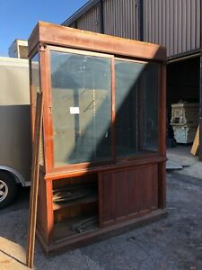 C1900 Antique Mahogany Country Store Upright Cabinet 14 5 L X 18 D X 91 5 H