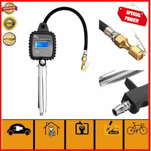 Portable Digital Car Tire Inflator Air Pressure Gauge Lcd Tyre Tester Pistol Ss