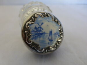 925 Sterling Blue White Enamel Vanity Cosmetic Jar Dutch Windmill Free Ship Us
