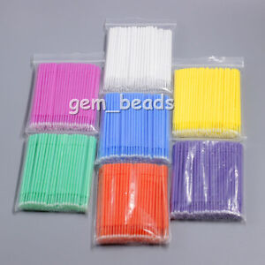 1 200pks 3 Sizes Dental Disposable Micro Applicators Brush 7color 100pcs pk