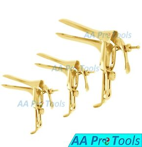 3 full Gold Pederson Vaginal Speculum Small Medium Large Ob gynecology