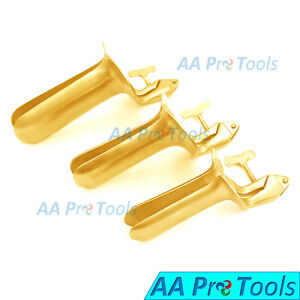 3 collin Vaginal Speculum Small Medium Large Full Gold Ob gynecology