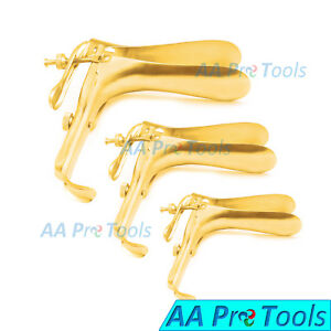 3 full Gold Graves Vaginal Speculum Small Medium Large Ob gynecology