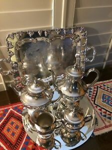 5 Pc Gorgeous Antique Lehman Brothers Ny Silver On Copper Tea Coffee Set