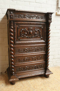 Antique French Renaissance Hunt Chest Drop Front Secretary Cabinet
