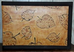 Leather 7 Ring Business Check Binder Exotic Aspen Leaf Embossed Cowhide Leather