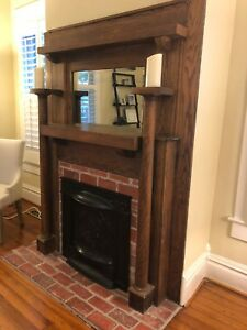 Authentic Antique Wooden Fireplace Mantel 1890s From C B Atkin Co