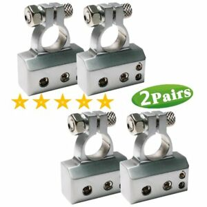 2 Pairs 2 4 8 Awg Car Usto Positive negative Battery Terminal Platinum Silver Us
