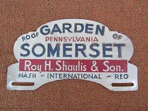 Vintage 1940 s 50 s Orig License Plate Topper Roof Garden Of Somerset Pa Nash