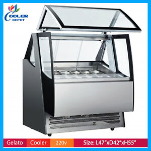 New 12 Pan Gelato Ice Cream Freezer Display Showcase Case Design Ard 600l