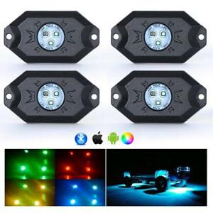 Set Of 4 Nilight Rgb Led Rock Lights Control By Phone For Jeep Off Road Trucks
