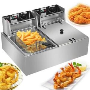 Us 5000w Electric Countertop Deep Fryer 2 Tank Commercial Restaurant Steel 12l