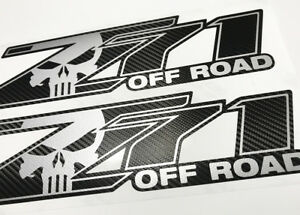 Carbon Fiber Z71 Off Road Punisher Chevy Silverado Chevrolet Decals Stick