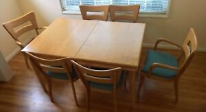 Vintage Heywood Wakefield Dining Set Table A Leaf 6 Dog Bone Style Chairs