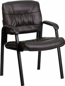 Flash Furniture Brown Leather Executive Side Reception Chair With Black Frame Fi