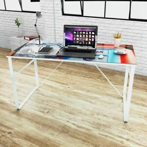 Modern Computer Desk Rectangular Study Office Laptop Pc Glass Table W Prin
