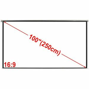 100 4 3 Portable Projector Screen Matte White Manual Pull Down Movie Theater