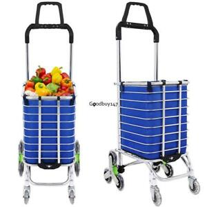 8 Wheels Aluminum Oxford Cloth Bag Folding Stairs Double Handle Shopping Cart Us