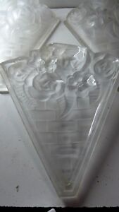 Set 5 Art Deco Pressed Glass Floral Light Shade Panels Antique French Style
