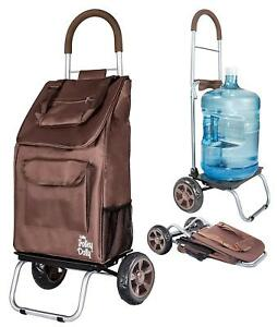 Trolley Dolly Rolling Shopping Cart Bag Brown Shopping Grocery Foldable Cart