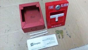 Simplex 4251 20 Fire Alarm Pull Station Switch Bbox 2 Keys 2 Glass Rod