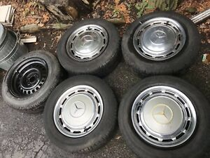 7x15 Et25 Mercedes Wheels And Vintage Grosser 600 Ambulance 16 25 Hubcaps 41 Cm