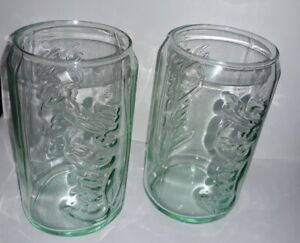 Coca-Cola Coke Green Glass Can Cup Coke Drink, Vintage 12 oz Glass-Set of 2