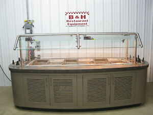 114 X 48 Island Salad Bar Refrigerated 6 Pan Cold Well Buffet Table 9 6 X 4