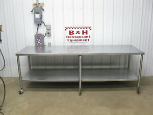 96 X 30 Stainless Steel Heavy Duty Kitchen Work Table W Under Shelf Casters 8