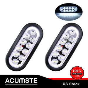 2pcs 6 Oval White 10 Led Reverse Backup Light For Car Rv Boat Trailer Truck Us