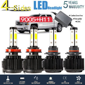 4side 360 9005 H11 Led Headlight High Low Beam 240w 64000lm Canbus Error Free