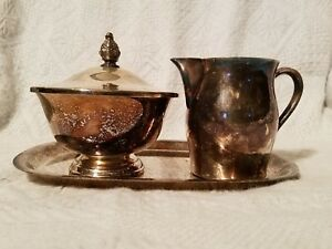 Paul Revere Reproduction Silver Plated Cream And Sugar With Tray Vintage